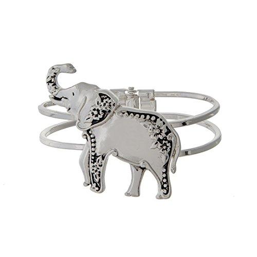 Silver Toned Elephant Bangle Bracelet (Delta Elephant)