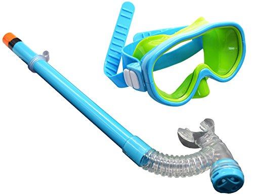HARDKING Kids Youth Junior Silicone Scuba Swimming Diving Mask Snorkel Glasses Anti Fog Goggles Set (Lake Blue)