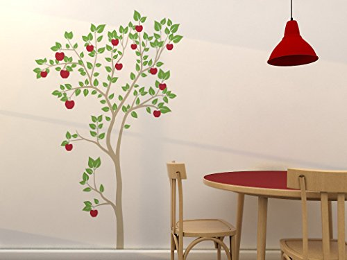 Apple Tree Wall Decal Set - Over 6 Feet Tall! - Removable Vinyl Decals - Stickers for Home Decorating and Interior Design - Light Brown Trunk, Green Leaves, & Red Apples ()