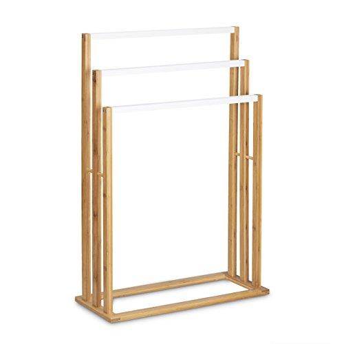 Relaxdays Bambus Handtuchhalter H x B x T: ca. 82 x 54 x 24 cm treppenförmiger Handtuchständer mit 3 Handtuchstangen als elegantes Badaccessoire für Handtücher im natürlichem Stil, natur