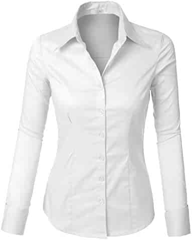 1d6ce91f75419 LE3NO Womens Tailored Long Sleeve Button Down Shirt with Stretch