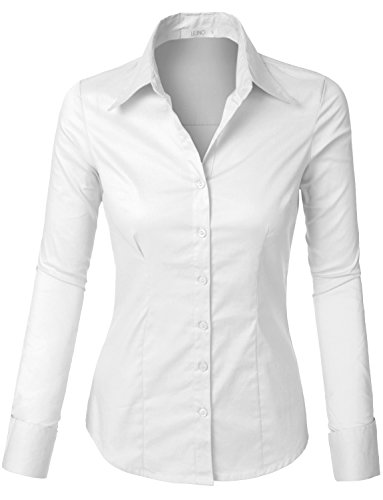 Pointed Collar Shirt (LE3NO Womens Lightweight Button Down Shirt with Stretch, White, XX-Large)