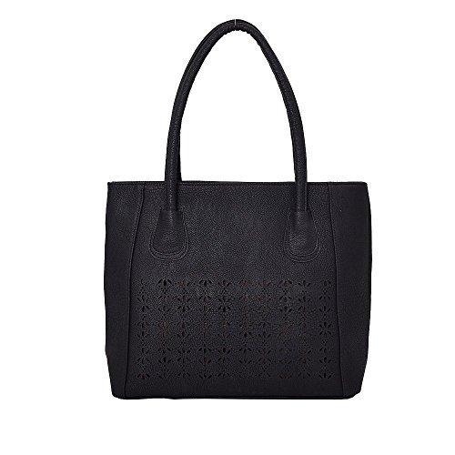 Cut Large Leather Shopper Tote Women's Black Laser Faux Bag 1w655qZ