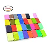 Maudre 32PCS DIY Colored Small Clay Blocks,Soft Molding Craft Oven Baking Clay, Malleable Polymer Clay Birthday gift for Kids (32 Colors)