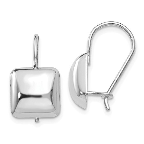 (Solid 14k Gold White Polished 9.5mm Puffed Square Kidney Wire Earrings)