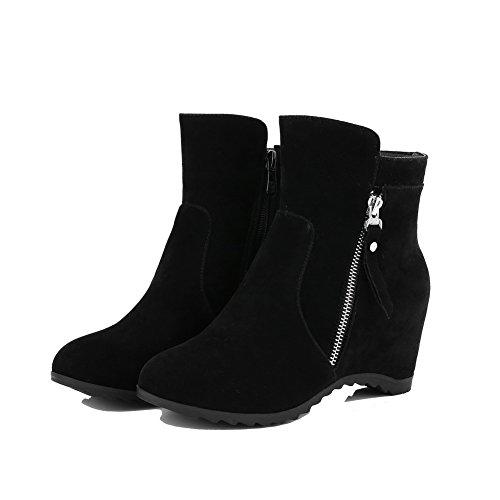 AgooLar Women's Round-Toe Pull-On Frosted Solid Kitten-Heels Boots Black qsGOZlK