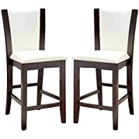 1PerfectChoice 2 Piece Manhattan Counter Height Dining Side Chair, PU Leather Espresso Wood, White
