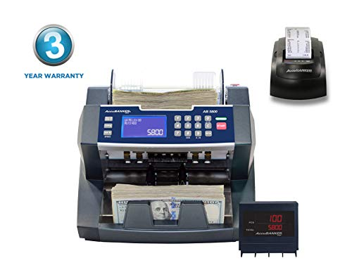 AccuBANKER AB5800 Bank Grade Value Extension Money Counter Machine with Total Value Per Denomination Hopper Capacity 300 Bills & Counterfeit Detector MG + UV (AB5800 with MP20 Thermal Printer)