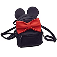 Abage Cute Mini Backpack Lightweight PU Leather Bowknot Cartoon Mouse Ear Small Backpack Travel Daypacks for Women/Girls, Black3