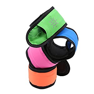 [4 Pack] Emmabin LED Slap Bracelet Lights Glow Band for Running& Activity, Replaceable Battery - 4 Modes (Always Bright/Quick Flashing/Slow Flashing/Off), 25cm Glow Bracelets with 4-Pcs Package