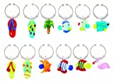 Boston Warehouse Art Glass Wine Charms, Summer Fish, Set of 12