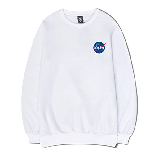 (CORIRESHA Fashion NASA Logo Print Hoodie Sweatshirt with Kangaroo Pocket(Smaller Than Standard Size))