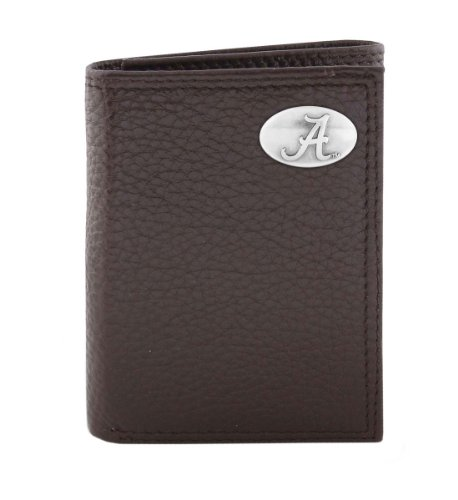 NCAA Alabama Crimson Tide Brown Pebble Grain Leather Trifold Concho Wallet, One Size