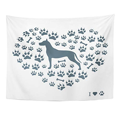 - Emvency Tapestry Polyester Fabric Print Home Decor Nice of Great Dane Silhouette on Dog Tracks and Bones in The Form Heart White Wall Hanging Tapestry for Living Room Bedroom Dorm 60x80 Inches