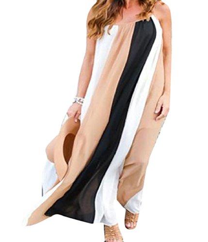 Sexy Moda Chiffon Spiaggia Vestiti Colore donne Coolred Colpite Kaki Grande Dal Bordo Sundress fnqwIzZ6S