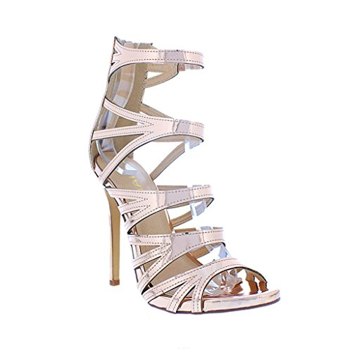 Gold Strappy Stiletto Heels Open Liliana Faux High Leather Rose Jesse Toe Cutout 206 1WUqAZd7