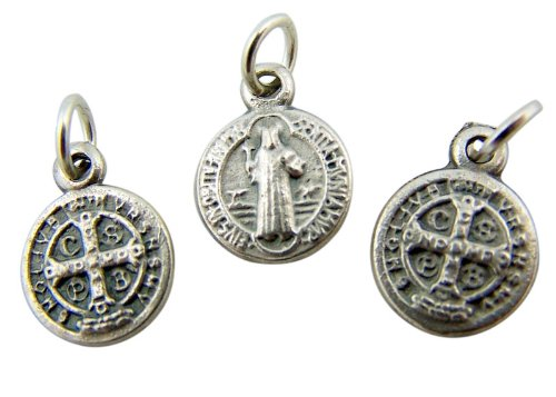 Jewelry Making Charms Lot Of 3 Saint St Benedict Of Nursia 1 2  Silver Mini Medal