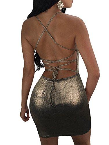 TOB Women's Sexy Shiny Backless Spaghetti Strap Lace Up Club Mini Dress (Gold Mini Dress)