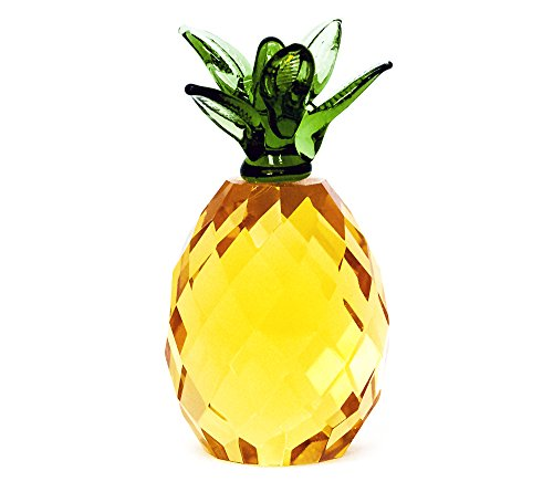 Glass Gold Pineapple with Green Top Ornament by (Glass Pineapple)