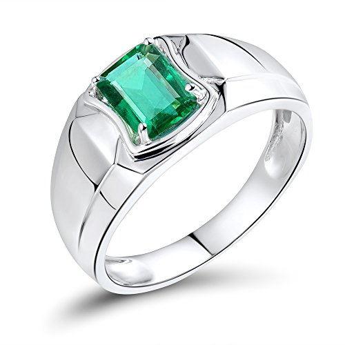 Lanmi Men's 14K/18K Yellow White Gold Natural Green Emerald Diamonds Engagement Ring Wedding Rings for Man