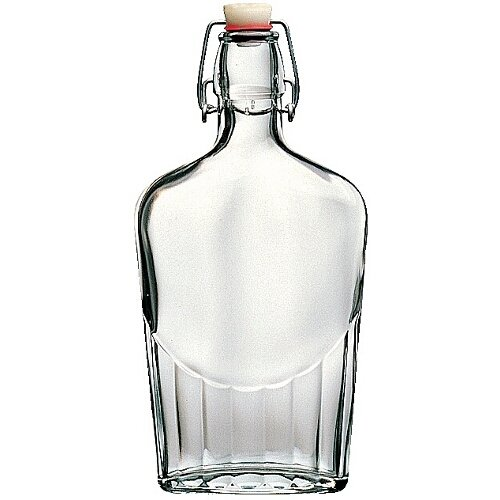Bormioli Roccoo Italian Glass Flask Bottle 17 Ounce - 12 Pieces - Clear