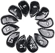Sosolong White Golf Crocodile Leather cue Cover, Mixed Fairway Irons for Golf Club Protectors, 12 Pieces