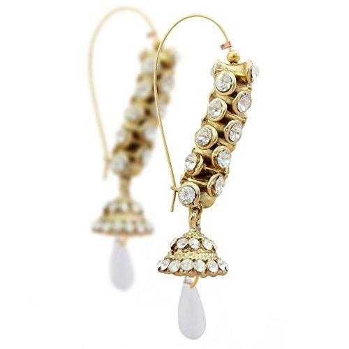 Bollywood Inspired Indian Pakistani Pearl Crystal Strand Jhumki Hoop Dangler Earrings