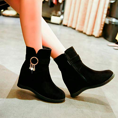 Casual Tube Women HOMEBABY Ankle Middle Zipper Shoes Martin Boots Flcok Boots Boots Black Low Wedges ArqwI8ATv