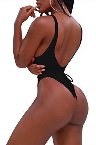 5605bb8fa9 Sovoyontee Women Sexy High Cut Out Bikini One Piece Swimsuits Thong Monokini