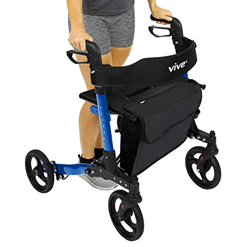 Vive Folding Rollator Walker - 4 Wheel Medical Rolling Walker with Seat & Bag - Mobility Aid for Adult, Senior, Elderly & Handicap - Aluminum Transport Chair (Blue)