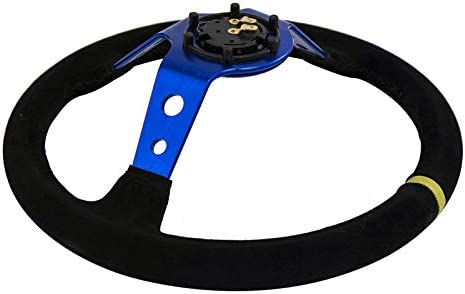 BEESCLOVER Blue Steering Wheel ID=14inch 350mm OMP Deep Corn Drifting Steering for AutoAccessoryMisc