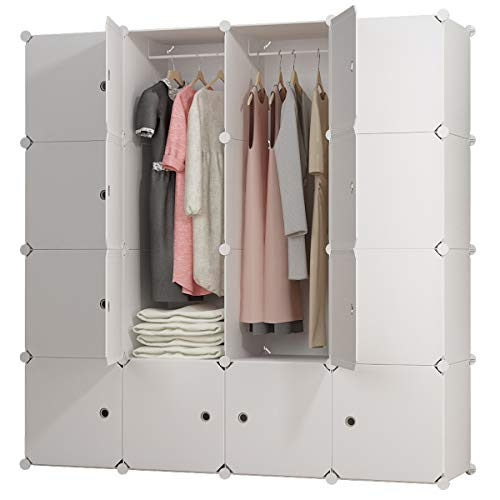 KOUSI Portable Clothes Closet Wardrobe Bedroom Armoire Dresser Cube Storage Organizer, Capacious & Customizable, White, 10 Cubes+2 Hanging Sections ()