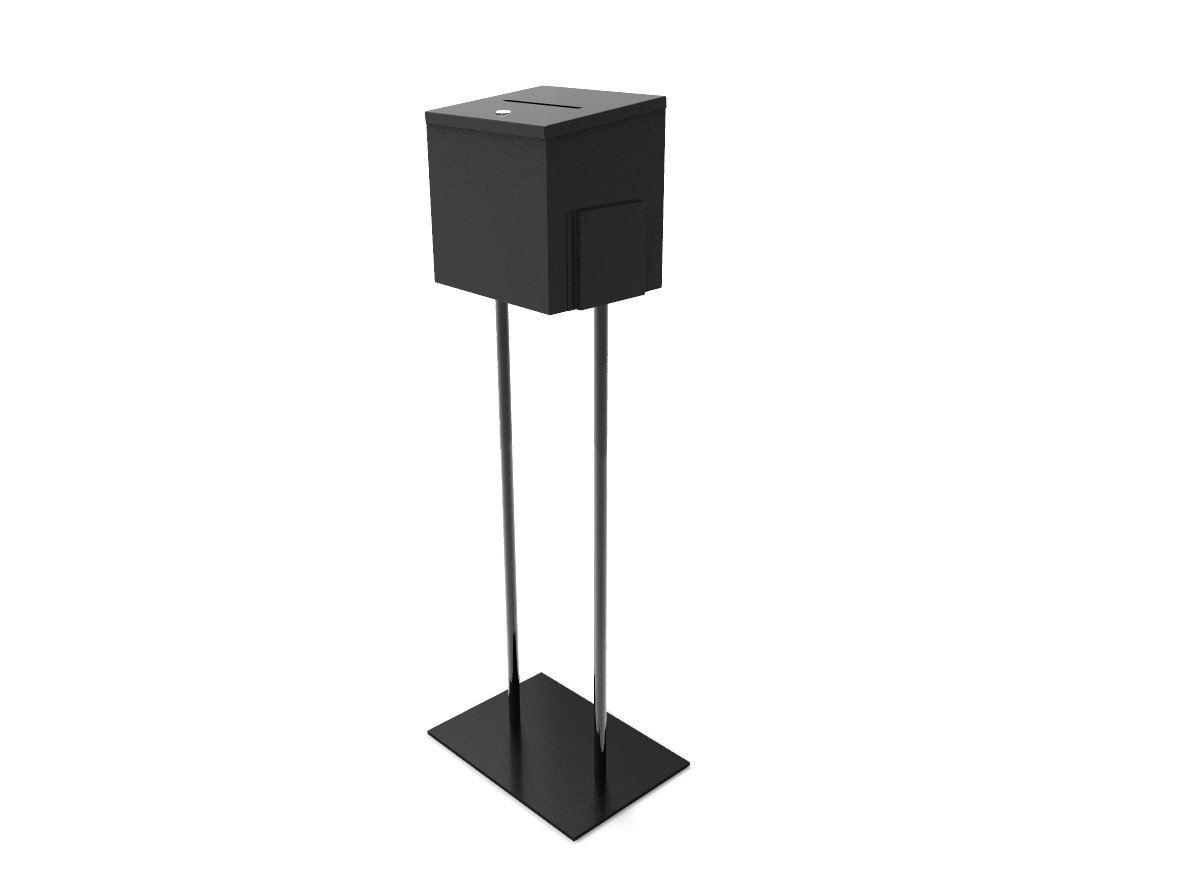 Fixture Displays Black Metal Ballot Box Donation Box Suggestion Box With Black Stand 11064+10918-BLACK!