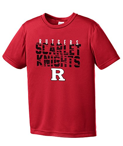(NCAA Rutgers Scarlet Knights Youth Boys Destroyed Short sleeve Polyester Competitor T-Shirt, Youth X-Large,Red)