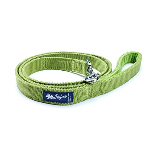 - PETFINO Hemp Dog Leash 5ft Heavy Duty (Medium Size) Padded Fleece-Lined Handle with Reflective Safety Strip (Hemp Green)