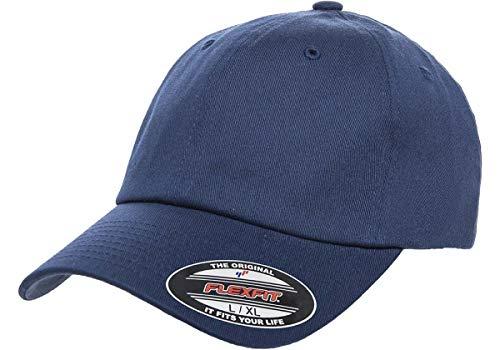 Flexfit Cotton Twill Dad Hat | Low Profile, Stretch Fit Ballcap w/Hat Liner (Small/Medium - Navy) (Low Navy Profile Cotton Twill)