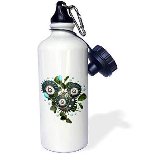 "3dRose ""Cool Steampunk Barometer and Aqua Roses"" Sports Water Bottle, 21 oz, White 3"
