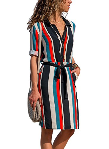 Shirt Up Stripe Casual with Stripe Pocket Down Short Button Print Dress Sailed Sleeve Roll T Women Loose Happy FA4gxPR
