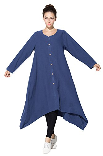 Anysize Sapphire Fall Buttons Clothing Spring Coconut Linen Size amp;cotton Plus Y193 rqUXrvnw6