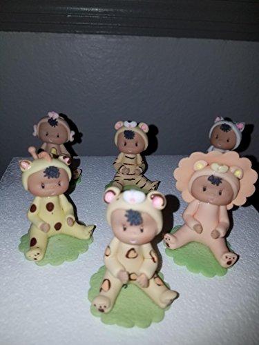 safari Baby Animals Favors Cold Porcelain Baby Shower Birthday Cake Topper ethnic
