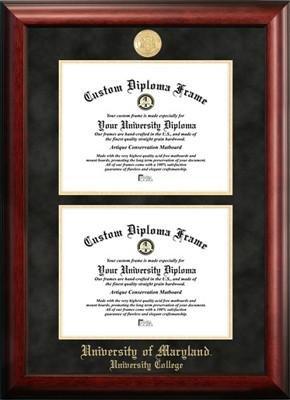 University of Maryland University College Satiny Mahogany Double Degree Diploma Frame by Premier Frames (Image #1)