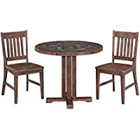 Home Styles 5601-328 Round Table and Two Arm Chairs Morocco Dining Set (3 Piece)