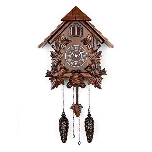Polaris Clocks Cuckoo Wall Clock with Night Mode Option in Black Forest Style (Brown, 16
