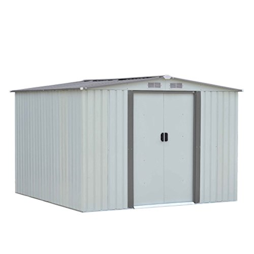 Outdoor Storage Shed Garden Resin Horizontal Shed 6ftx8ft Lawn Utility Tools Organizer