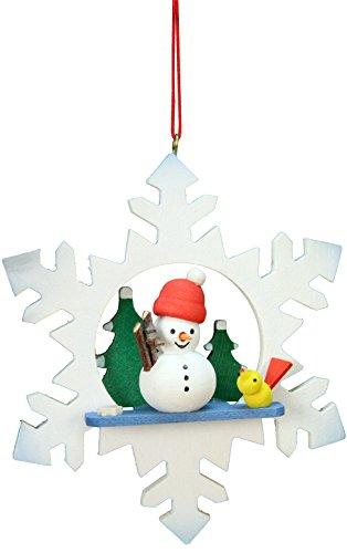 (Alexander Taron Importer 10-0553 Christian Ulbricht Ornament - Snowman in Snowflake - 3.5