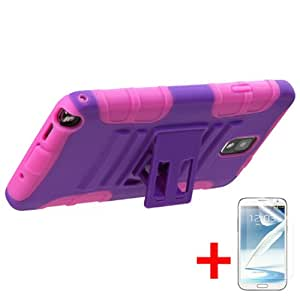 SAMSUNG GALAXY NOTE 3 PURPLE PINK HYBRID H KICKSTAND COVER HARD GEL CASE + FREE SCREEN PROTECTOR from [ACCESSORY ARENA]