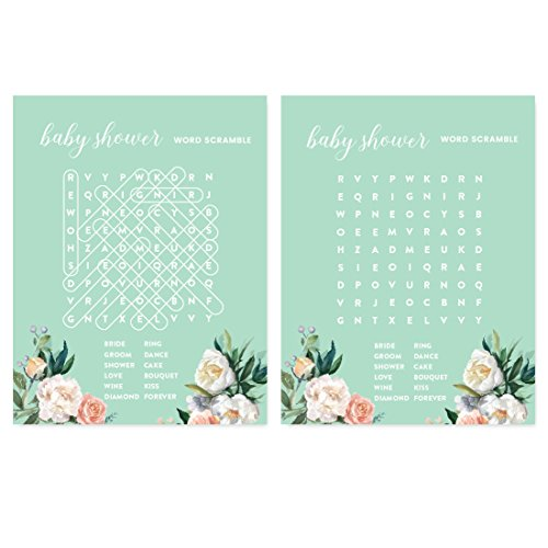 Andaz Press Peach Mint Green Floral Garden Party Baby Shower Collection, Word Search Baby Shower Game Cards, 20-Pack ()