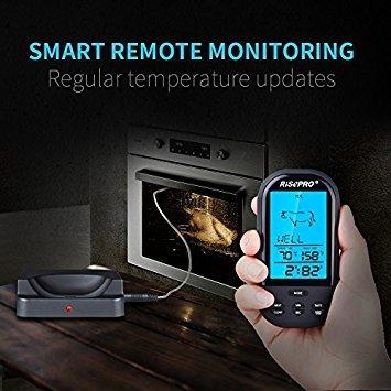 RISEPRO inalámbrica Barbacoa termómetro con sonda de actualizado Oven-proved, Resistencia al Calor 572 °F, para Carne/Pollo/Carne de Cerdo/Barbacoa ...