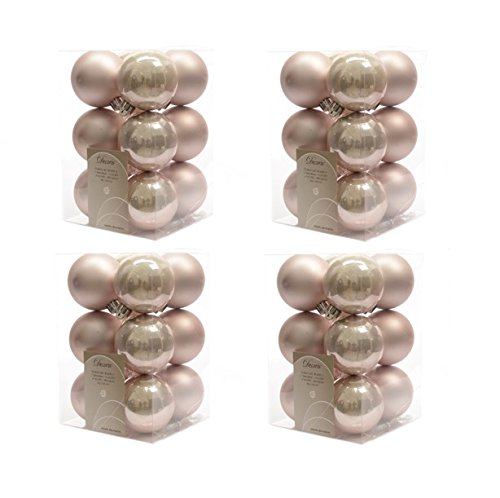 Palline di Natale infrangibili, di lusso, 4 confezioni da 12, colore rosa cipria 340585 Kaemingk