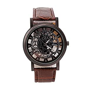 Men Watch, Lookatool Men Luxury Stainless Steel Quartz Military Sport Leather Band Dial Wrist Watch (A)